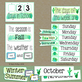 classroom calendar and weather chart editable