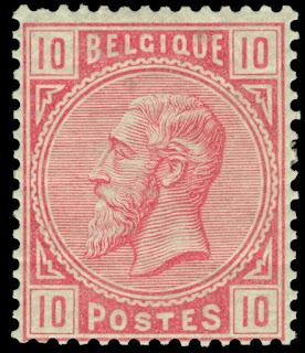 Belgium 1883 King Leopold II 10c Carmine