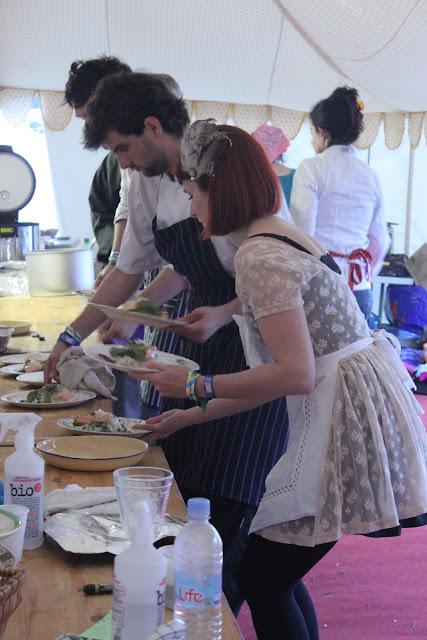 Head chef Kiren and waitress Gemma behind the scenes.