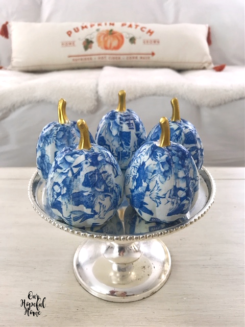 romantic chinoiserie pumpkins silver cake stand pumpkin patch pillow