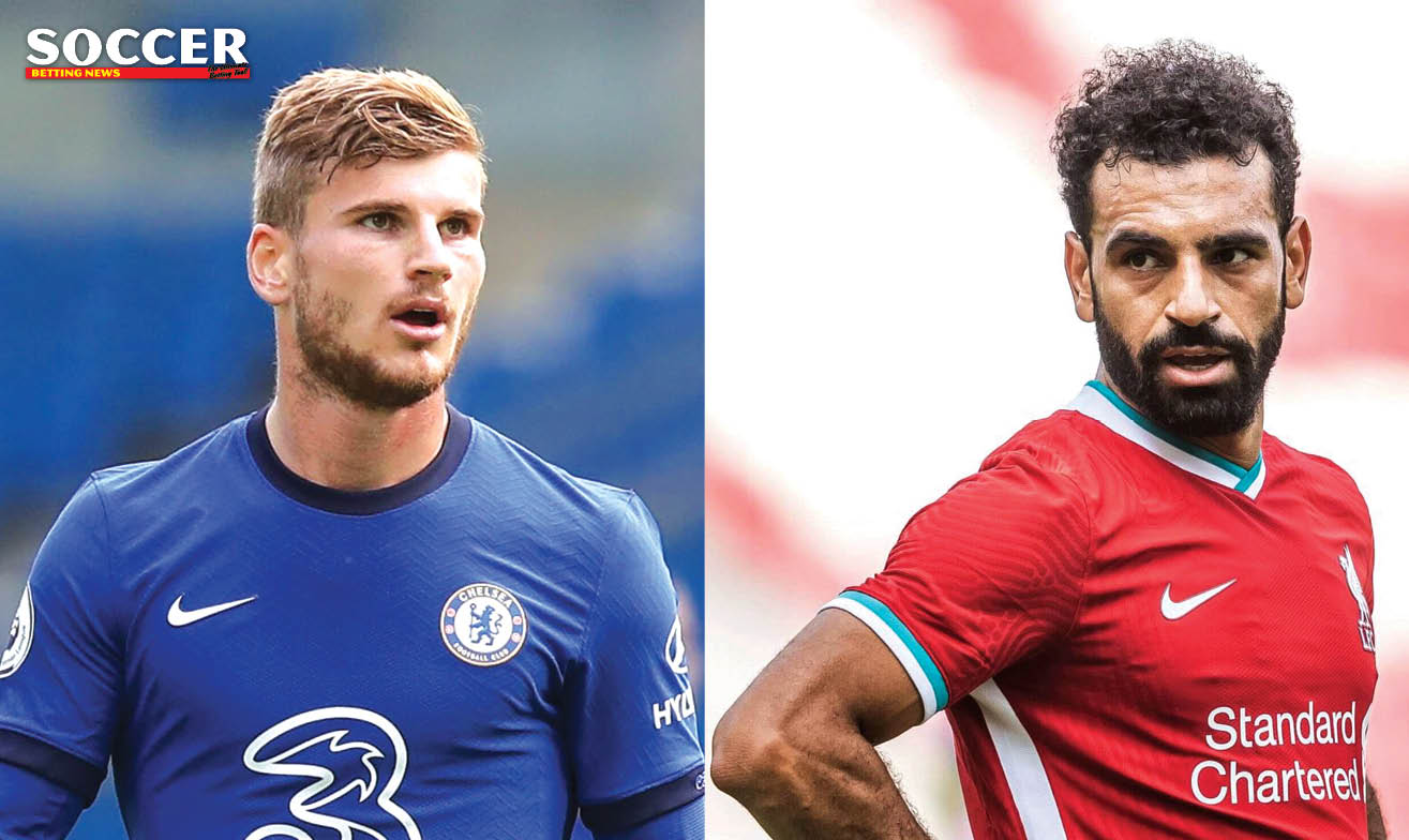 Chelsea striker Timo Werner and Liverpool forward Mohamed Salah