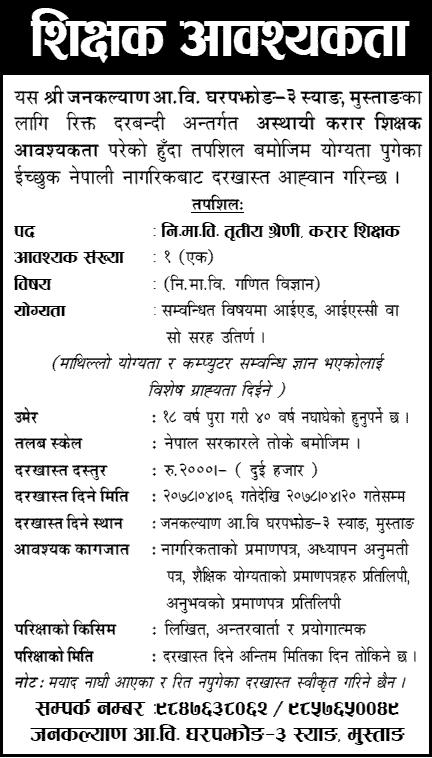 Janakalyan Residential School Vacancy Announcement for Teachers