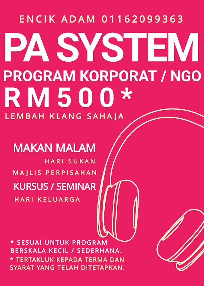 Pakej Sewaan Pa System Untuk Sektor Korporat / NGO