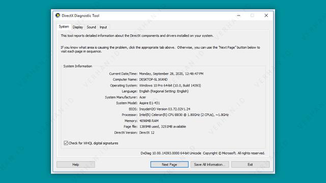 spesifikasi laptop via dxdiag