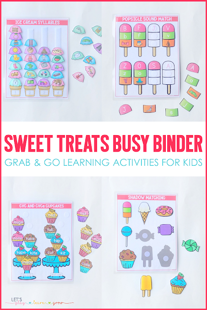 Are you looking for simple hands on learning activities to keep your young learners engaged and learning while playing? Maybe you have a thing for sweet treats? This Sweet Treats Busy Binder for preschool and kindergarten has ten interactive learning activities that are perfect for any time of year and will keep your learner engaged and having fun while learning. Check out all ten sweet treats themed activities and grab a copy for your home or classroom here.