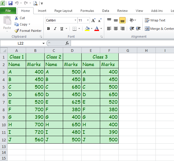 Excel Table Example
