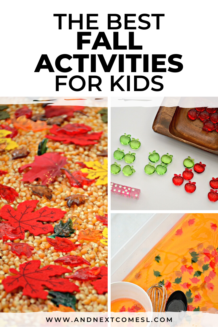 Fall activities for kids, including fall sensory bins for toddlers and preschoolers