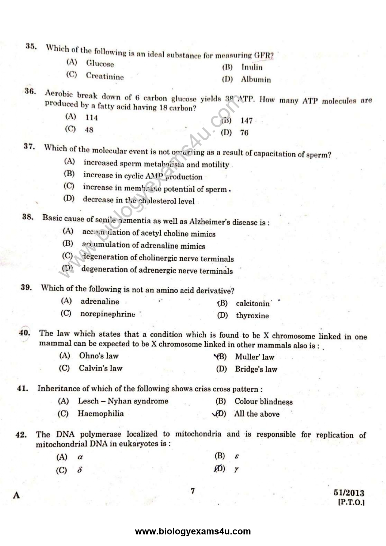 Scientific Officer Biology - Question Paper with Answer Key 51/2013