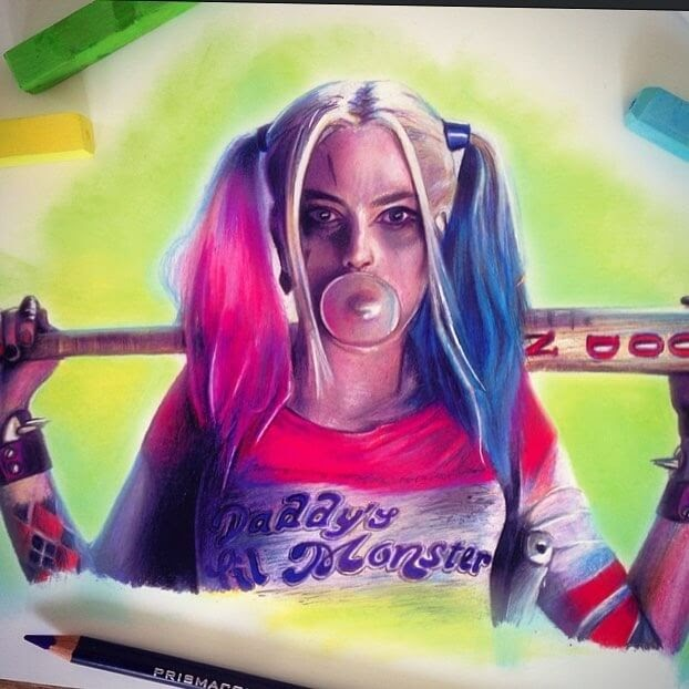 07-Harley-Quinn-Margot-Robbie-from-Suicide-Squad-Chris-Superhero-and-Villain-Realistic-Pencil-Drawings-www-designstack-co