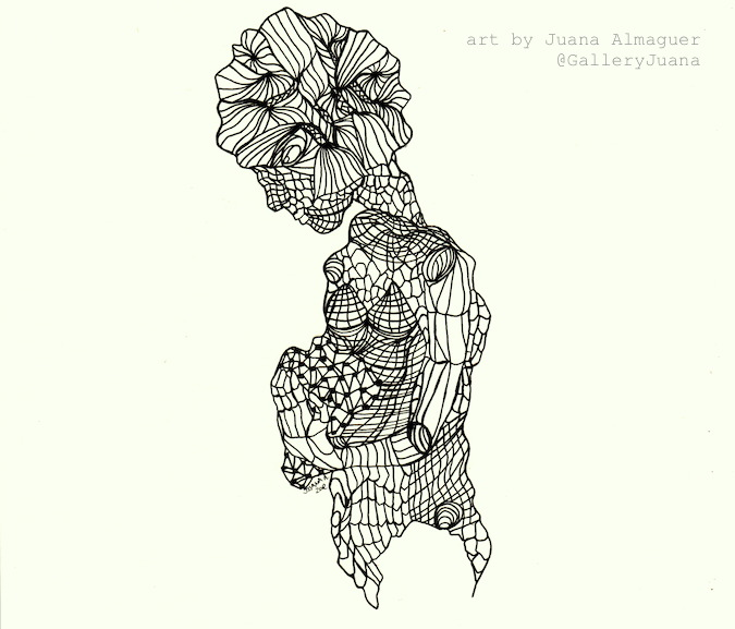 Pieces II, pen drawing, juana almaguer