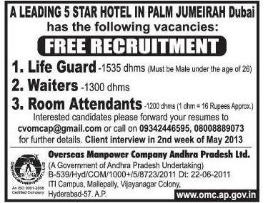 Free Recruitment For A Leading 5 Star Hotel In Palm Jumeirah Dubai