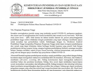 Surat Edaran DIRJEN DIKTI Tentang Pembelajaan Selama Masa Darurat Pandemi COVID-19