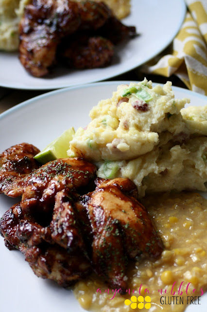 Gluten Free Barbecue Chicken Thighs Served with Champ and Creamed Corn from Anyonita Nibbles