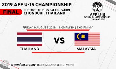 Live Streaming Thailand vs Malaysia 9.8.2019 (AFF U15)