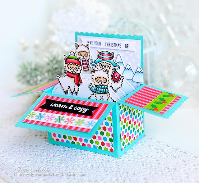 Sunny Studio Stamps: Alpaca Holiday Holiday Cheer Interactive Pop Up Christmas Card by Kay Miller