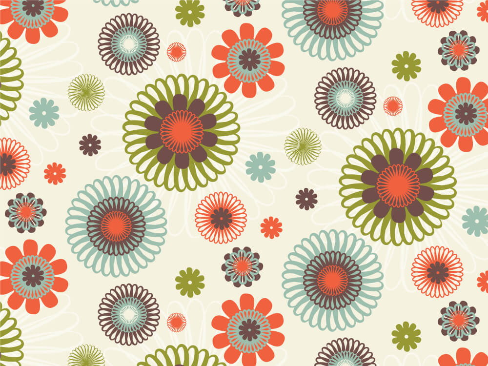 Pattern with geometric flowers