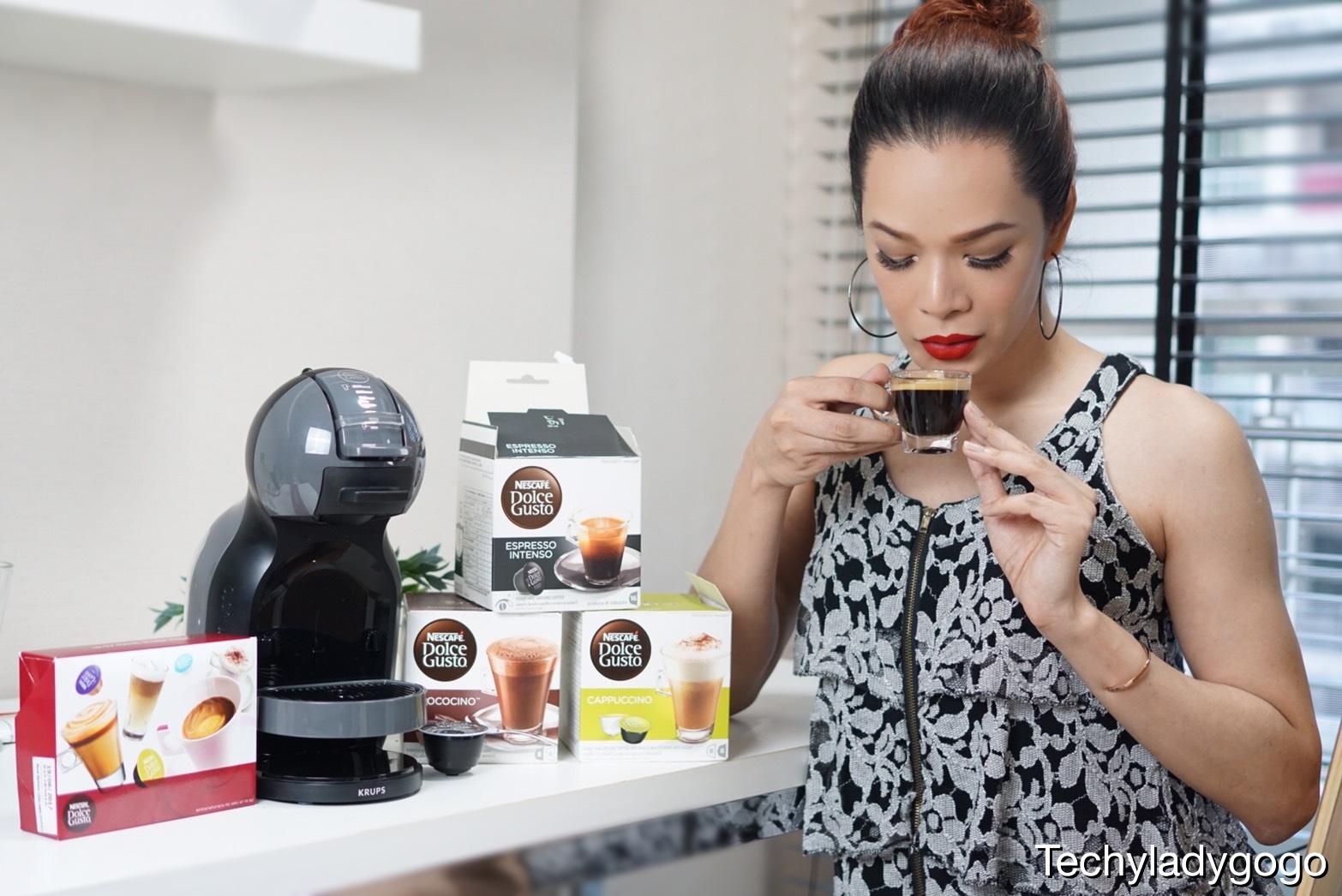 techyladygogo ดื่มกาแฟ espresso intense จากเครื่องชงกาแฟแคปซูลอัตโนมัติ Nescafe Dolce Gusto