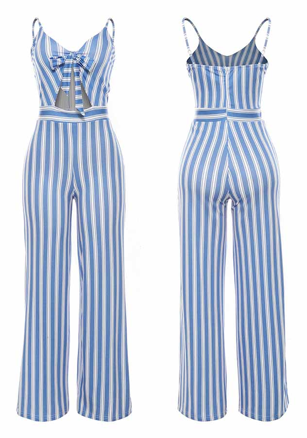 Sexy Stripe Printed Holiday Party Jumpsuit