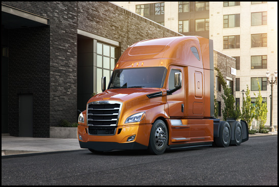 "New Cascadia 126"" bbc, 60"" raised roof sleeper shown with AeroX aerodynamic option and Elite exterior trim package"