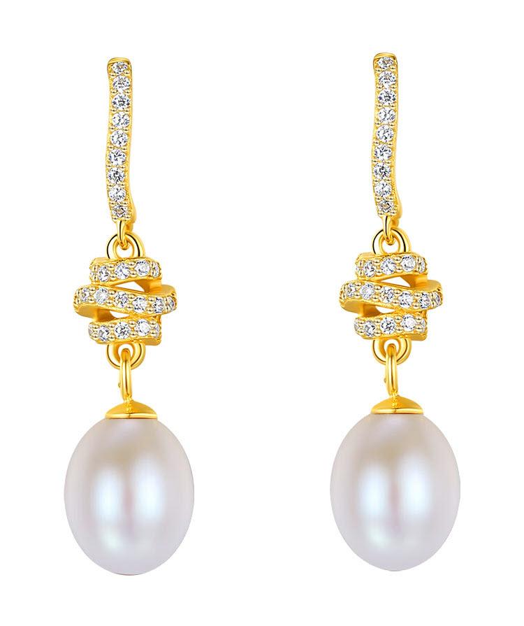 粉黛典雅宮廷風 925純銀淡水真珍珠耳環