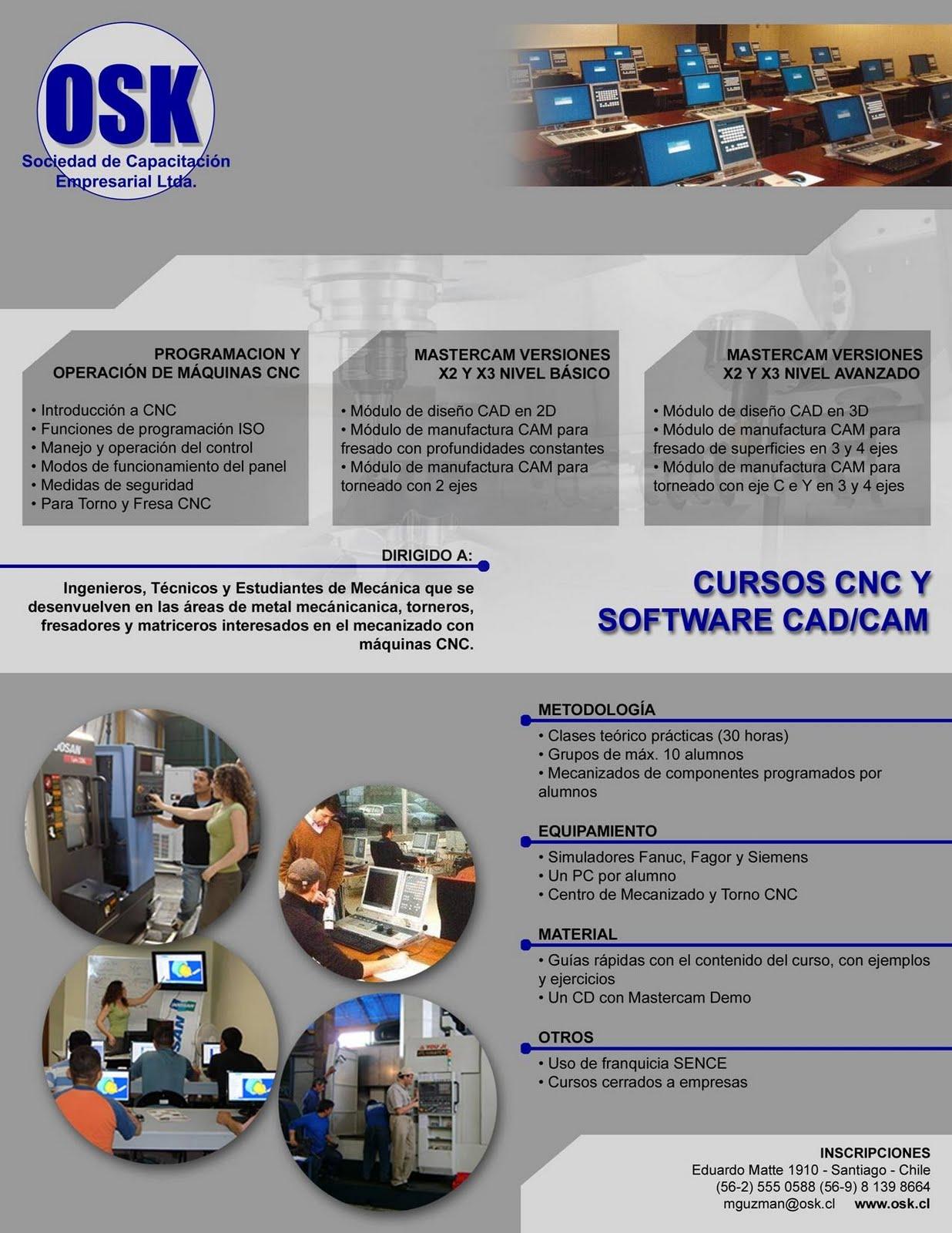 OSK Capacitacion: CURSOS CNC Y SOFTWARE MASTERCAM