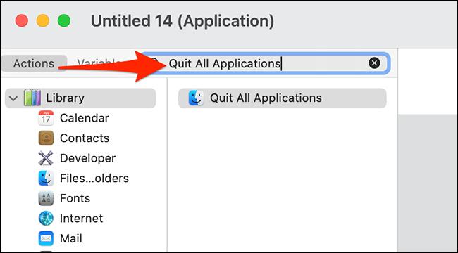 """ابحث عن """"إنهاء كافة التطبيقات"""" في قائمة إجراءات Automator."""