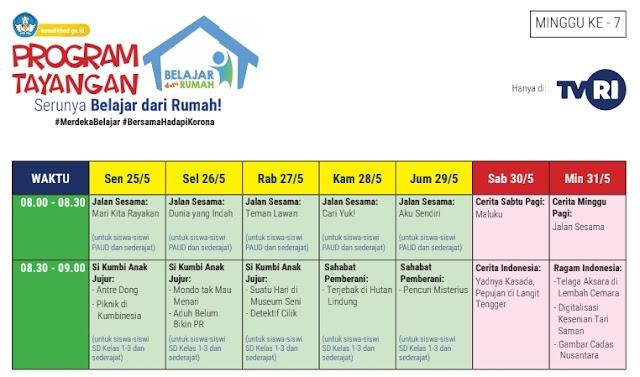 Jadwal Belajar Dari Rumah TVRI Minggu Ketujuh PAUD, SD, SMP dan SMA/SMK Sederajat