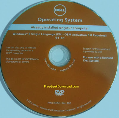 Microsoft Windows 8 Dell 64-bit OEM DVD Free Download