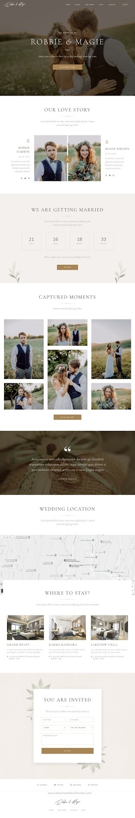 Wedding Event Invitation Elementor Template