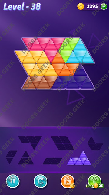 Block! Triangle Puzzle 7 Mania Level 38 Solution, Cheats, Walkthrough for Android, iPhone, iPad and iPod