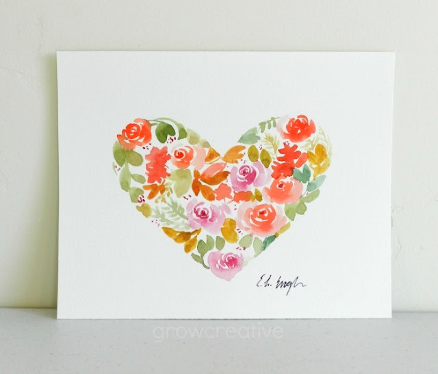 Watercolor Floral Heart by Elise Engh