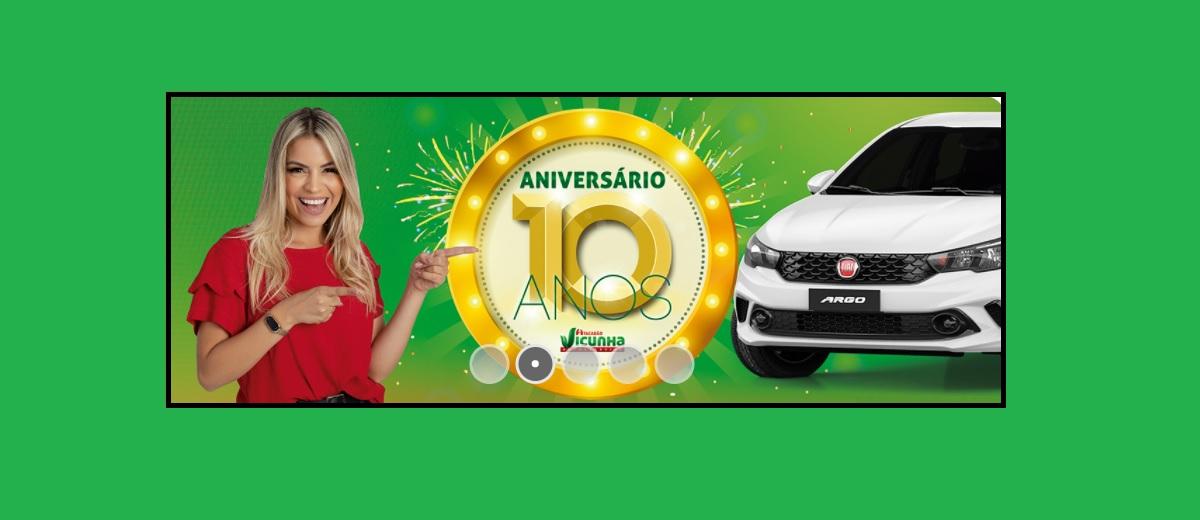Promoção Aniversário 2021 Vicunha Atacadão 10 Anos Carro Novo