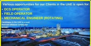 UAE Based Chemical Plant Recruitment For Field Operator, DCS Operator, Mechanical Technician, Mechanical Engineer in UAE