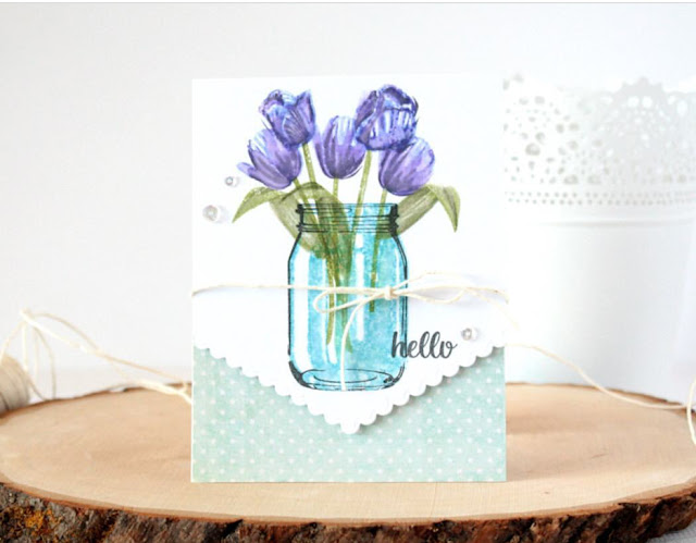Sunny Studio Stamps: Vintage Jar, Timeless Tulips, and Fishtail Banners II card by Lisa's Creative Niche