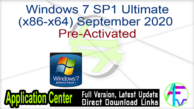 Windows 7 SP1 Ultimate (x86-x64) Pre-Activated September 2020