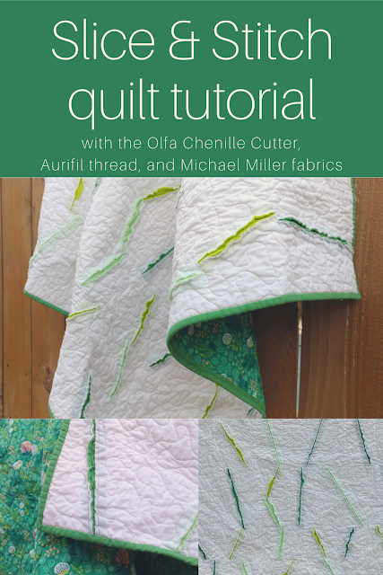 Making a modern slice and stitch quilt with the Olfa chenille cutter