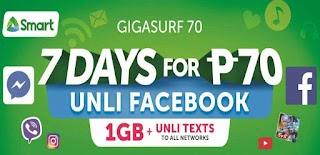Smart GIGA70 GigaSurf 70 – 7 Days Internet, Unli FB and All Net Texts