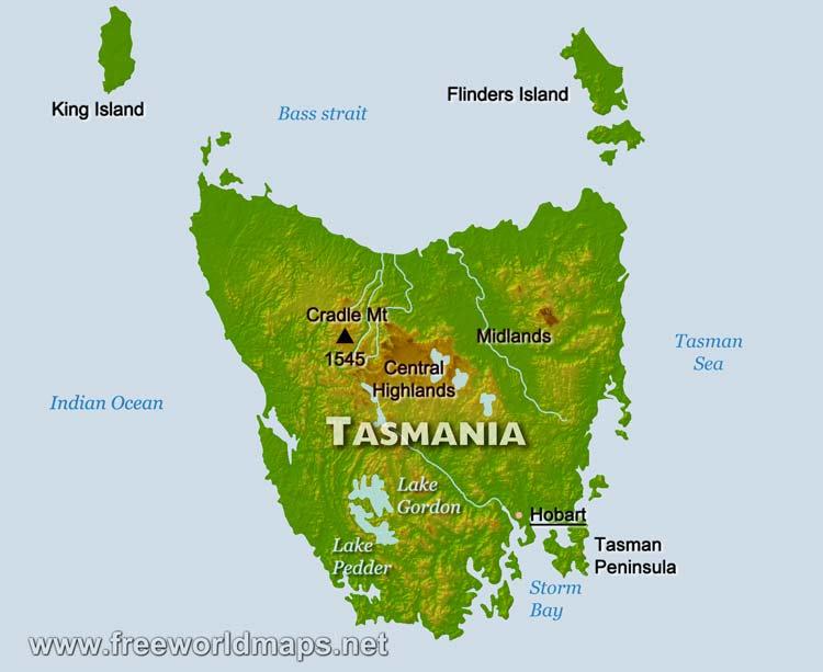 Mar De Tasmania Mapa.Islas Del Mundo Tasmania