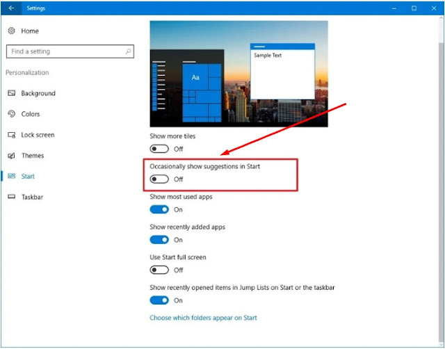 Nonaktifkan iklan dari Start Menu Windows 10