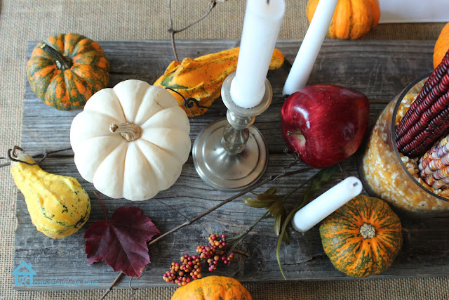 Rustic centerpiece for Thanksgiving table.