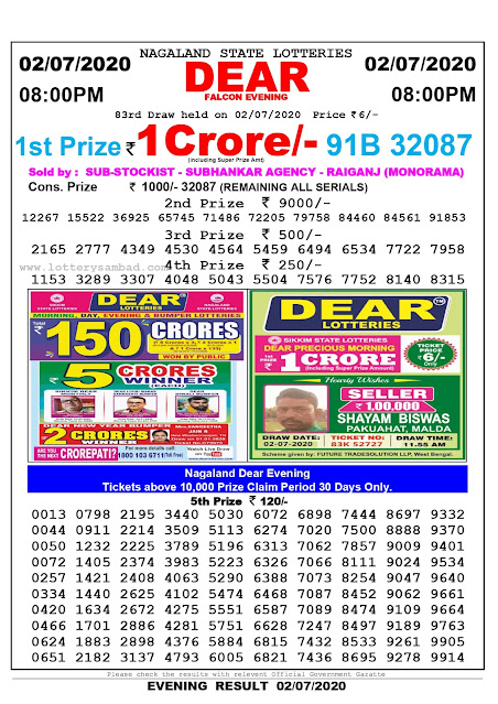 Nagaland State Lottery Sambad 02-07-2020 Today Result 8 PM