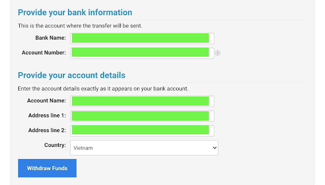 Entering your bank account information to receive money