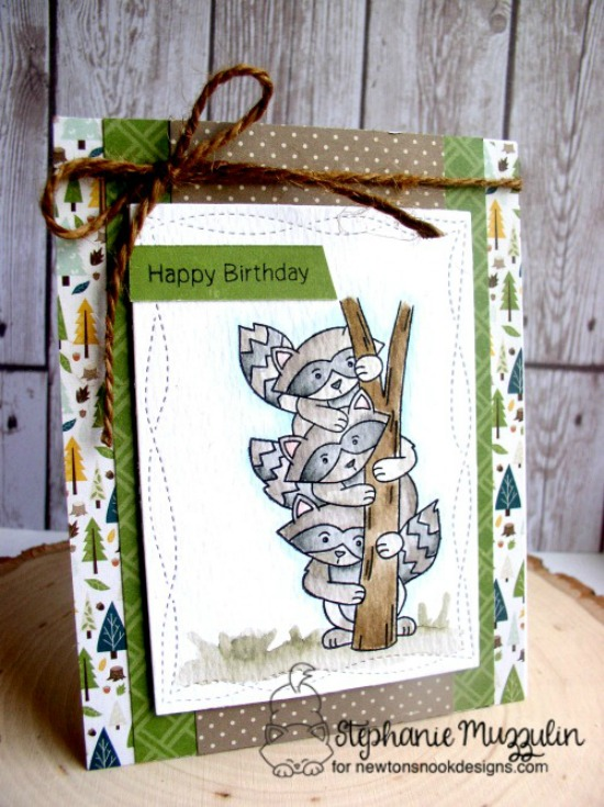 Happy Birthday Raccoon Card by Stephanie Muzzulin | Raccoon Rascals Stamp set by Newton's Nook Designs #newtonsnook