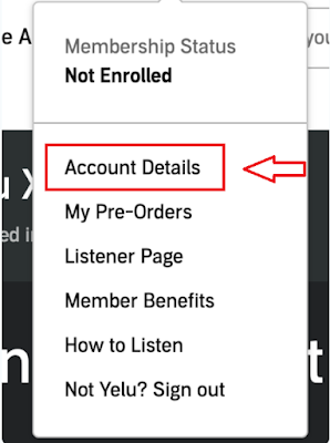 """Select """"Account details""""to cancel your audible subscription."""