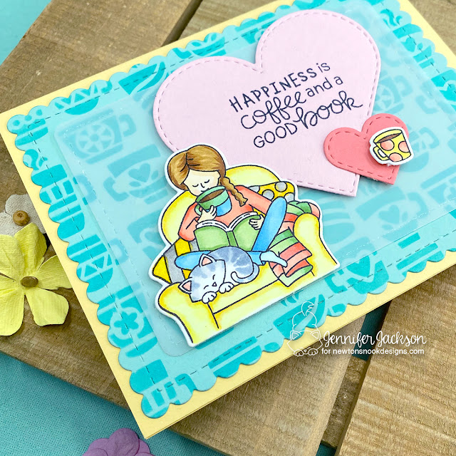 Coffee and Books Card by Jennifer Jackson | Sips & Stories Stamp Set, Mugs Stencil, Heart Frames Die Set and Frames & Flags Die Set by Newton's Nook Designs #newtonsnook #handmade