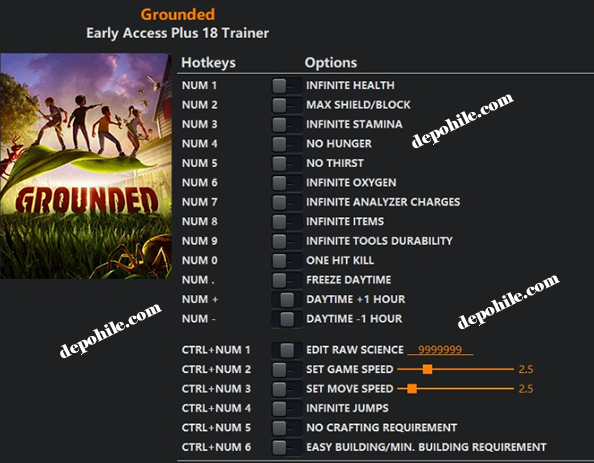 Grounded PC Oyunu Can, Tek Atma Trainer Hilesi İndir 2020