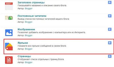 Для создания категорий блога выбираем гаджет Ярлыки