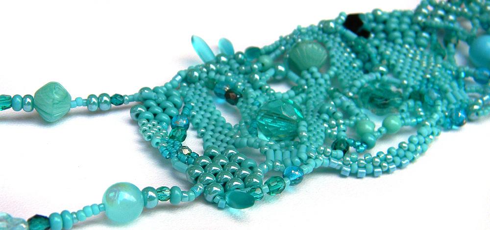 Turquoise boho necklace - freeform beaded jewelry - bohemian necklace  -OOAK