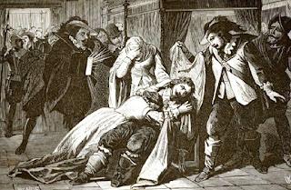 Muestra la escena de la madre llerando sobre el hijo muerto, rodeada de los alguaciles.