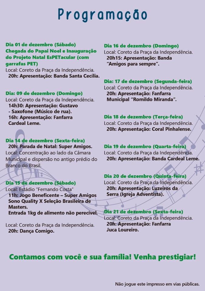 Confira a programação de Natal da Prefeitura Municipal de Espírito Santo do Pinhal